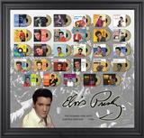 Elvis Presley &quot;The Number One Hits&quot; framed presentation with gold foil mini record replicas Framed Memorabilia
