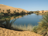 Umm Al-Maa Lake (Ubari Lakes), Oasis in the Idehan Ubari, Ubari Sand Sea, Sahara Desert, Libya Photographic Print by Gary Cook