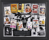 Elvis In Hollywood framed presentation with a piece of a suit jacket worn by Elvis Framed Memorabilia