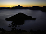 Sunrise over Wizard Island, Crater Lake National Park, Oregon, USA Photographic Print by David Cobb