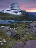 Bearhat Mountain and its Reflection in Hidden Lake at Sunset in the Fall, Glacier National Park Photographic Print by David Cobb