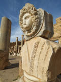 Carved Marble Gorgon Head in the Severan Forum, Leptis Magna Roman Ruins, Libya Photographic Print by Gary Cook