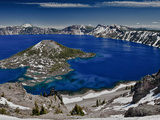 Crater Lake and Wizard Island, Looking East Toward Mount Scott on Far Side Photographic Print by Ellen Bishop