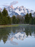 Grand Tetons from Schwabacher Landing on the Snake River at Sunrise in Grand Teton National Park Photographic Print by David Cobb