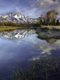 Grand Tetons from Schwabacher Landing on the Snake River at Sunrise, Grand Teton National Park Photographic Print by David Cobb