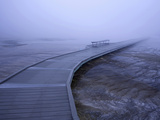 Boardwalk and Bench in Morning Fog around Grand Prismatic Spring, Yellowstone National Park Photographic Print by David Cobb