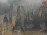 Pinnacles or Eroded Volcanic Vents in the Fog, Crater Lake National Park, Oregon, USA Photographic Print by David Cobb
