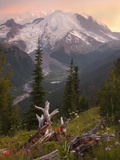 Mount Rainier at Sunset, Mount Rainier National Park, Washington, USA Photographic Print by David Cobb