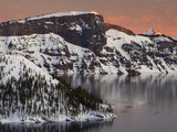 Sunset View of Wizard Island and Lao Rock at Crater Lake National Park in Winter, Oregon, USA Photographic Print by Sean Bagshaw