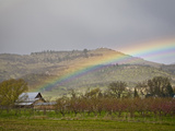 A Spring Thunderstorm and Rainbow Pass over Farm Land in the Rogue Valley of Southern Oregon, USA Photographic Print by Sean Bagshaw