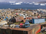 Trash Dumped on the Tundra Outside Illulissat in Greenland with Icebergs Photographic Print by Ashley Cooper