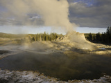 Castle Geyser at Sunset, Yellowstone National Park, Wyoming, USA Photographic Print by David Cobb