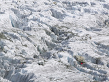 A Mountaineer Climbing Among Crevasses on the Argentiere Glacier, Chamonix France Photographic Print by Ashley Cooper