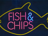 A Neon Fish and Chips Sign Photographic Print by Ashley Cooper