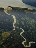 Aerial Image of a Meandering Stream, Glacier Bay National Park, Alaska, USA Photographic Print by Gerald & Buff Corsi