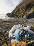 Trash Collected on a Beach Near Portpatrick on the Rhins of Galloway, Scotland, UK Photographic Print by Ashley Cooper