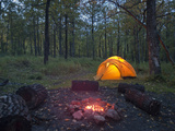 Tent and Campfire, Brooks Campground, Katmai National Park, Alaska, USA Photographic Print by Patrick Endres