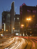Car Lights in the Evening Rush Hour in Dubai City Photographic Print by Ashley Cooper