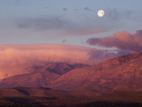 Moon over Guadalupe Mountains, Guadalupe Mountains National Park, Texas, USA Photographic Print by Clint Farlinger