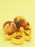 Peaches, Entire and Sliced, (Prunus Persica) Photographic Print by Wally Eberhart