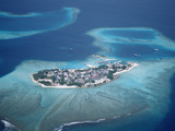Aerial View of a Town on the Maldives, Indian Ocean Photographic Print by Reinhard Dirscherl