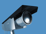 Illustration of a Security Camera on a Blue Background Photographic Print by Victor Habbick
