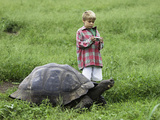 A Young Boy Prepares to Photograph a Galapagos Giant Tortoise (Geochelone Elephantopus) Photographic Print by David Fleetham