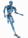 Conceptual Illustration of a Robot Running a White Background Photographic Print by Victor Habbick