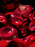 Nanorobot Attaches Itself to a Red Blood Cell Ready to Inject Medicine into It Photographic Print by Victor Habbick