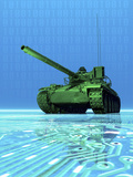 Conceptual Illustration of a Virtual Tank Sitting on Circuit Board Surface Photographic Print by Victor Habbick
