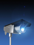 Illustration of a Security Camera Rendered on a Blue Background Photographic Print by Victor Habbick