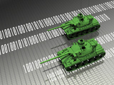 Illustration of Virtual Tanks Sitting on Circuit Board Surface Photographic Print by Victor Habbick