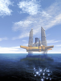 Futuristic Off Shore Oil Rig as Seen on a Bright Day, Blue Sky and Deep Blue Ocean Photographie par Victor Habbick