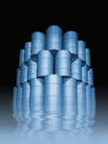 3D Illustration of Oil Drums Piled High on a Reflective Surface Photographic Print by Victor Habbick