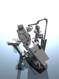 A 3D Illustration of a Dentist Chair and a Selection of Dental Tool Attachments Photographic Print by Victor Habbick