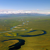 Aerial View of an Oxbow to the Side of the North Fork of the Tinayguk River Photographic Print by Paul Andrew Lawrence