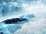 A Large Blue Moon as Seen Through Large Breaking Ocean Waves Photographic Print by Victor Habbick