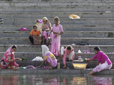 Indian Women Bathing and Washing Clothes, Lake Pichola, Udaipur, India Photographic Print by Adam Jones