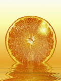 Illustration of a Bright Fresh Slice of Orange Reflected in Juice Photographic Print by Victor Habbick