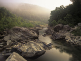 Boulders and Foggy Sunrise Along the Big South Fork River, Big South Fork National River Photographic Print by Adam Jones