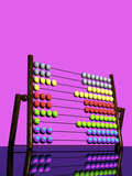 A 3D Render of a Colorful Abacus Reflected on a Glossy Table Top Surface Photographic Print by Victor Habbick