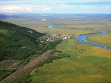 Aerial View of the Alaskan Native Village of Manokotak on the Igushik River Photographic Print by Paul Andrew Lawrence