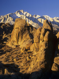 Granite Formations of the Alabamhills in Owens Valley in Front of Lone Pine Peak Photographic Print by Adam Jones