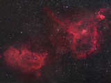 Heart and Soul Nebulae in Cassiopeia, Ici805 and Ici848 Photographic Print by Robert Gendler