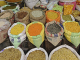 Colorful Spices in a Vegetable Market, Udaipur, India Photographic Print by Adam Jones
