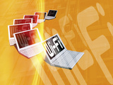 Conceptual Image Showing a Selection of Laptop Computers All with Wi-Fi Connections Photographic Print by Victor Habbick