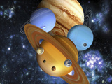 Illustration of the Nine Planets in Our Solar System Photographic Print by Victor Habbick
