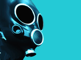 Illustration of a Gas Mask Against a Blue Background Fotografie-Druck von Victor Habbick