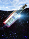 Illustration of a Cell Phone in a Clear Bottle Floating in the Ocean Fotografie-Druck von Victor Habbick