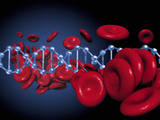 Conceptual Image of DNA and Red Blood Cells Photographic Print by Victor Habbick